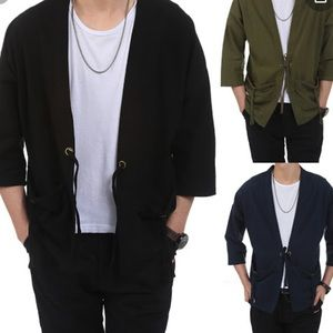 Coofandy relaxed fit kimono cardigan cotton linen